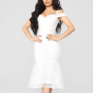 Fashion Nova white lace mermaid dress